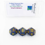 WKP13094E3 Twilight Elemental Dice Yellow Numbers 16mm D12 Pack of 3