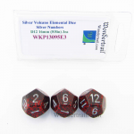 WKP13095E3 Silver Volcano Elemental Dice Silver Numbers 16mm D12 Pack of 3