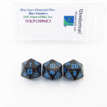 WKP13096E3 Blue Stars Elemental Dice Blue Numbers 16mm D20 Pack of 3