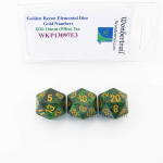 WKP13097E3 Golden Recon Elemental Dice Gold Numbers 16mm D20 Pack of 3