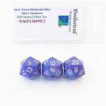 WKP13099E3 Silver Tetra Elemental Dice Silver Numbers 16mm D20 Pack of 3