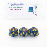WKP13100E3 Twilight Elemental Dice Yellow Numbers 16mm D20 Pack of 3