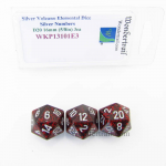 WKP13101E3 Silver Volcano Elemental Dice Silver Numbers 16mm D20 Pack of 3