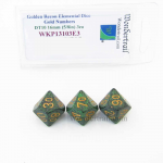 WKP13103E3 Golden Recon Elemental Dice Gold Numbers 16mm DT10 Pack of 3
