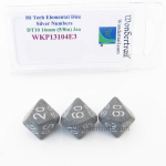 WKP13104E3 Hi Tech Elemental Dice Silver Numbers 16mm DT10 Pack of 3