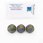 WKP13106E3 Twilight Elemental Dice Yellow Numbers 16mm DT10 Pack of 3