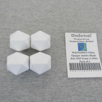 WKP18390E4 White Opaque Jumbo Blank Dice D20 31mm (1.25in) Pack of 4