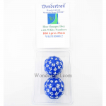WKP18500E2 Blue Opaque Dice with White Numbers D60 35mm Pack of 2