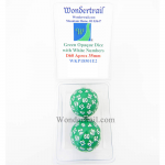 WKP18501E2 Green Opaque Dice with White Numbers D60 35mm Pack of 2
