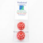 WKP18502E2 Red Opaque Dice with White Numbers D60 35mm Pack of 2