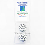 WKP18503E2 White Opaque Dice with Black Numbers D60 35mm Pack of 2