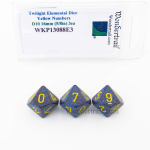 WKP13088E3 Twilight Elemental Dice Yellow Numbers 16mm D10 Pack of 3