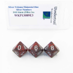 WKP13089E3 Silver Volcano Elemental Dice Silver Numbers 16mm D10 Pack of 3