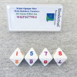 WKP16779E4 White Opaque Dice Rainbow Color Numbers D8 16mm Pack of 4