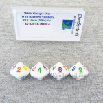 WKP16780E4 White Opaque Dice Rainbow Color Numbers D10 16mm Pack of 4
