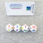 WKP16781E4 White Opaque Dice Rainbow Color Numbers D12 16mm Pack of 4