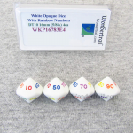 WKP16783E4 White Opaque Dice Rainbow Color Numbers DT10 16mm Pack of 4