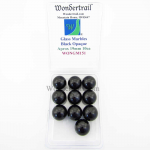 WONGM151 Black Opaque 19mm Glass Marbles Pack of 10 Wondertrail