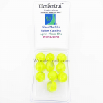 WONGM153 Yellow Cat Eye 19mm Glass Marbles Pack of 10 Wondertrail