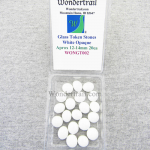 WONGT002 White Opaque Glass Tokens 12-14mm Aprox .50in Pack of 20