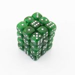 KOP11995 Green Marbleized Dice with White Pips D6 12mm (1/2in) Pack of 36