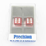 KOP12995 Dark Red Transparent D6 Precision Backgammon Dice White Pips