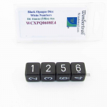 WCXPQ0608E4 Black Opaque Dice White Numbers D6 16mm Pack of 4