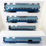 BAC43076 60ft O Scale Aluminum Streamliner Santa Fe Blue Goose 4 Car Set