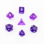 CHX23057 Purple Transparent Mini Dice White Numbers 10mm Set of 7