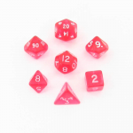 CHX23064 Pink Transparent Mini Dice White Numbers 10mm Set of 7