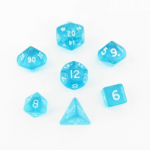 CHX23065 Teal Transparent Mini Dice White Numbers 10mm Set of 7