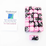 WCXDG1630E50 Black and Pink Gemini Dice with White Pips D6 16mm (5/8in) Bulk Pack of 50 Wondertrail