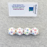 WKP16782E4 White Opaque Dice Rainbow Color Numbers D20 16mm Pack of 4