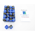 WCXDG1635E50 Black and Blue Gemini Dice with Gold Pips D6 16mm (5/8in) Bulk Pack of 50 Wondertrail