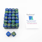 WCXDG1636E50 Blue and Green Gemini Dice With Gold Pips D6 16mm (5/8in) Bulk Pack Of 50 Wondertrail