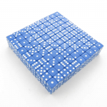 KOP01980 Blue Opaque Dice White Pips D6 16mm (5/8in) Bulk Pack of 200