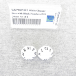 WKP18055E2 White Opaque Dice with Black Numbers D16 20mm Set of 2