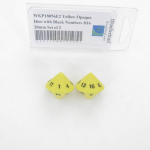 WKP18056E2 Yellow Opaque Dice with Black Numbers D16 20mm Set of 2