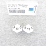 WKP18067E2 White Opaque Dice Black Numbers D10 (10-19) 20mm Set of 2