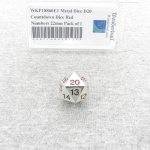 WKP18860E1 Metal Dice D20 Countdown Dice Red Numbers 22mm Pack of 1