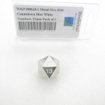 WKP18862E1 Metal Dice D20 Countdown Dice White Numbers 22mm Pack of 1