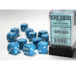 CHX25616 Light Blue Opaque D6 Dice Red Pips 16mm (5/8in) Pack of 12