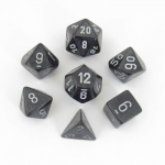 CHX27428 Smoke Borealis Dice with Silver Numbers 16mm (5/8in) Set of 7