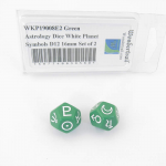 WKP19008E2 Green Astrology Dice White Planet Symbols D12 16mm Set of 2