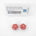 WKP19011E2 Red Astology Dice White Signs Symbols D10 16mm Set of 2