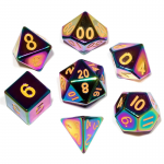 MET014 Flame Torched Solid Metal Dice Gold Numbers 16mm 7-Dice Set