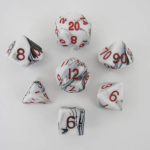 Met1031 Marble White With Red Numbers Set Of 7