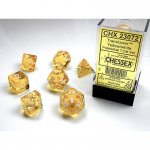 CHX23072 Yellow Translucent Dice with White Numbers 16mm (5/8in) Set of 7