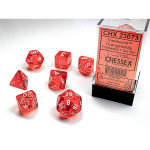 CHX23073 Orange Translucent Dice with White Numbers 16mm (5/8in) Set of 7