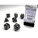 CHX23078 Smoke Translucent Dice with White Numbers 16mm (5/8in) Set of 7